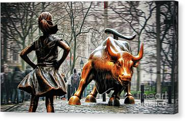 Bull Canvas Print - Fearless Girl And Wall Street Bull Statues by Nishanth Gopinathan