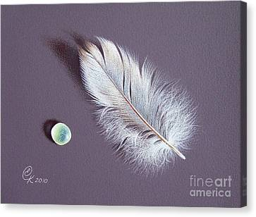 Feather And Sea Glass 2 Canvas Print