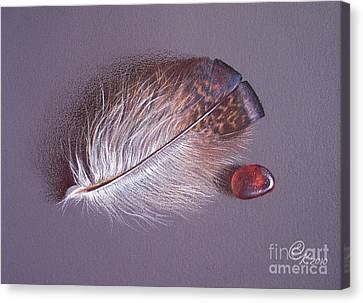 Feather And Sea Glass 3 Canvas Print