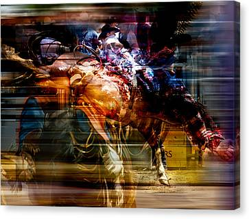 Feathered Bronc Rider Canvas Print by Mark Courage