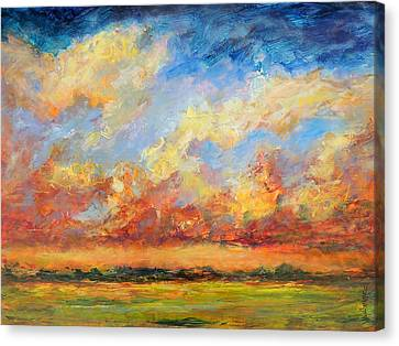 Canvas Print featuring the painting Feathered Sky by Mary Schiros