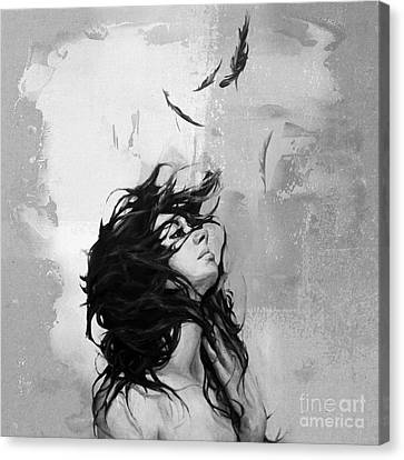 Feathers From Hair Canvas Print by Gull G