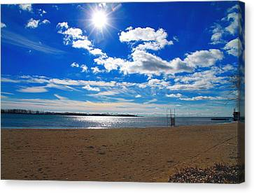 Canvas Print featuring the photograph February Blue by Valentino Visentini