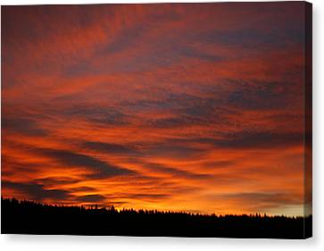 February Sunrise On The Ridge Canvas Print by Suzanne Lorenz