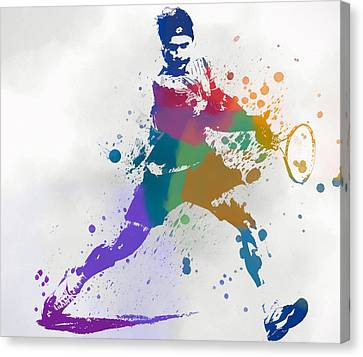 Federer Paint Splatter Canvas Print by Dan Sproul