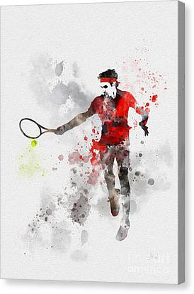 Slam Canvas Print - Federer by Rebecca Jenkins