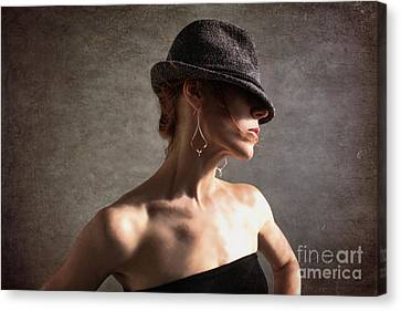 Profile Canvas Print - Fedora Vogue by Spokenin RED