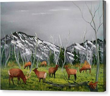 Canvas Print featuring the painting Feeding Elk by Al Johannessen