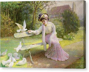 Feeding The Doves  Canvas Print by Edmond Alphonse Defonte