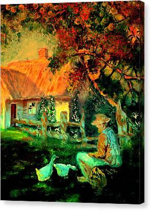 Feeding The Ducks,1985 Canvas Print