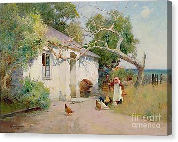 Country Cottage Canvas Print - Feeding The Hens by Arthur Claude Strachan