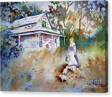 Canvas Print featuring the painting Feeding Time by Mary Haley-Rocks