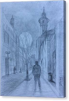 Canvas Print featuring the drawing Peaceful Feeling  by Laila Awad Jamaleldin