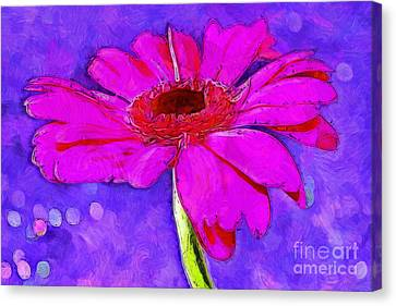Digital Paint Flower Canvas Print - Feeling Playful by Krissy Katsimbras