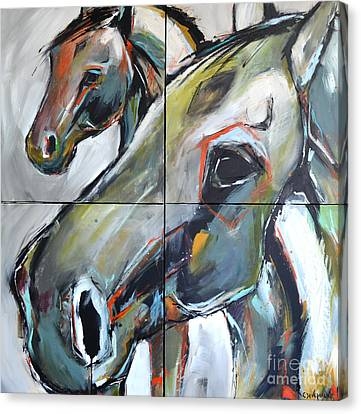 Canvas Print featuring the painting Feeling Thunder by Cher Devereaux