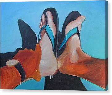 Feet Sunning Canvas Print