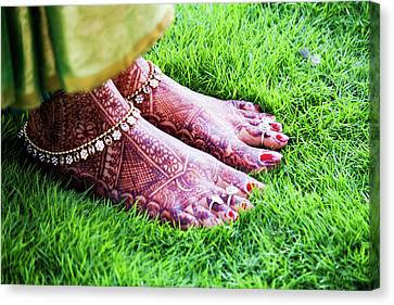 Human Body Part Canvas Print - Feet With Mehndi On Grass by Athul Krishnan (www.athul.in)