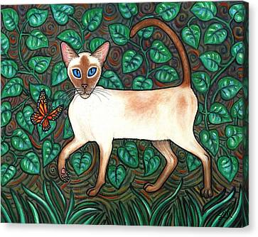 Kitten Canvas Print - Felina And The Monarch by Linda Mears