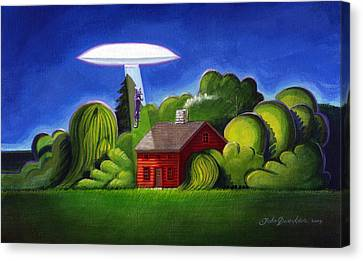 Feline Ufo Abduction Canvas Print by John Deecken