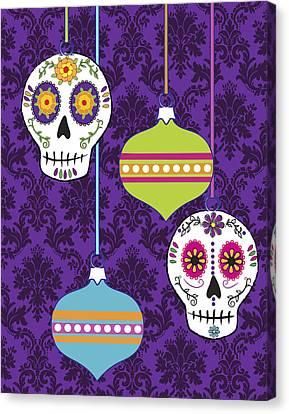 Feliz Navidad Holiday Sugar Skulls Canvas Print by Tammy Wetzel