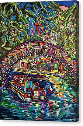 Canvas Print featuring the painting Feliz Navidad San Antonio by Patti Schermerhorn