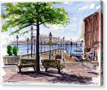 Fell Point In Baltimore Maryland Canvas Print by John D Benson
