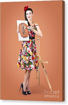 Female Artist Paints Self Portrait With Oil Paint Canvas Print by Jorgo Photography - Wall Art Gallery