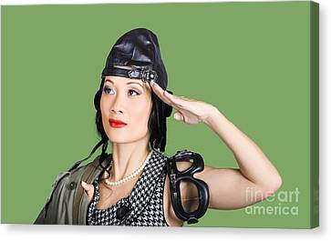 Female Aviation Lady Saluting In Pin-up Class Canvas Print by Jorgo Photography - Wall Art Gallery