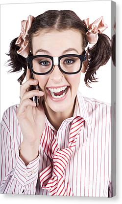 Female Business Person Selling On Smart Phone Canvas Print by Jorgo Photography - Wall Art Gallery