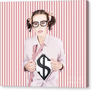 Female Business Superhero Showing Dollar Sign Canvas Print by Jorgo Photography - Wall Art Gallery