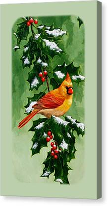 Female Cardinal And Holly Phone Case Canvas Print by Crista Forest