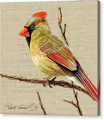 Canvas Print featuring the painting Female Cardinal by Bob Coonts