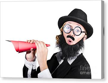 Female Dressed As A Man Holding Paper Megaphone Canvas Print by Jorgo Photography - Wall Art Gallery
