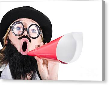 Female Dressed As A Man Shouting Through Megaphone Canvas Print by Jorgo Photography - Wall Art Gallery