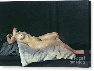 Woman Nude Canvas Print - Female Figure Lying On Her Back by Dora Carrington