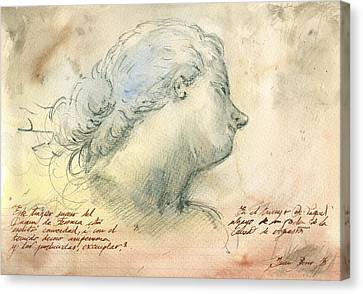 Female Head Study Canvas Print by Juan Bosco