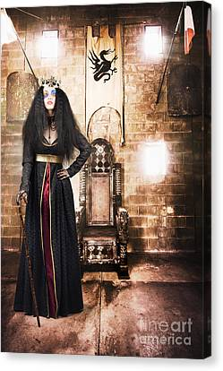 Female Member Of Royalty Standing By Golden Throne Canvas Print by Jorgo Photography - Wall Art Gallery
