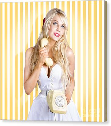 Female Model With Phone In Classic Retro Fashion Canvas Print by Jorgo Photography - Wall Art Gallery