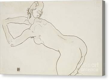 Figures Canvas Print - Female Nude Kneeling And Bending Forward To The Left by Egon Schiele