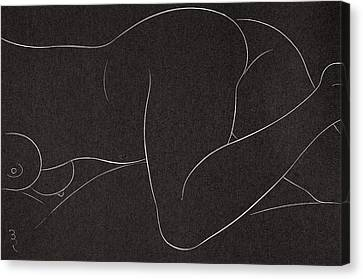 Female Nude Lying Canvas Print by Eric Gill