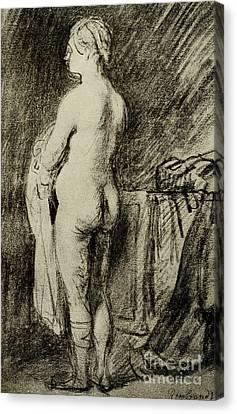 Female Nude Canvas Print by Rembrandt Harmensz van Rijn