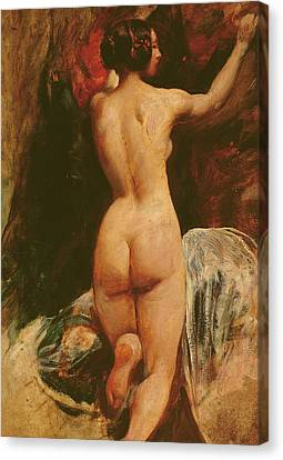 Female Nude Seen From The Back Canvas Print by William Etty