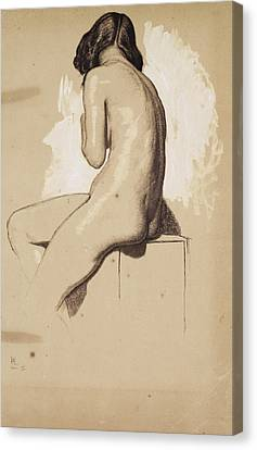 Female Nude - Study From Behind Canvas Print
