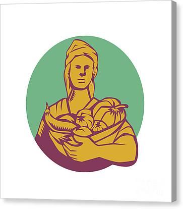 Female Organic Farmer Basket Harvest Circle Woodcut Canvas Print by Aloysius Patrimonio