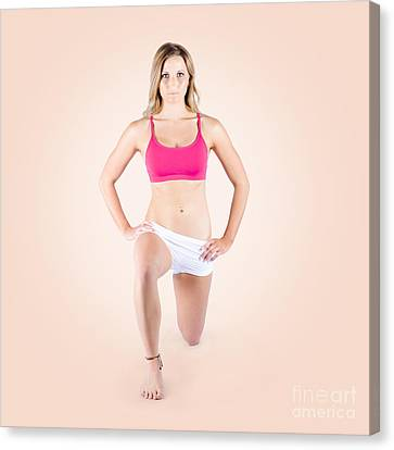 Fitness Instructor Canvas Print - Female Personal Trainer Warming Up Before Exercise by Jorgo Photography - Wall Art Gallery