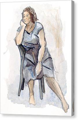 Female Seated Canvas Print by Nelson Caramico