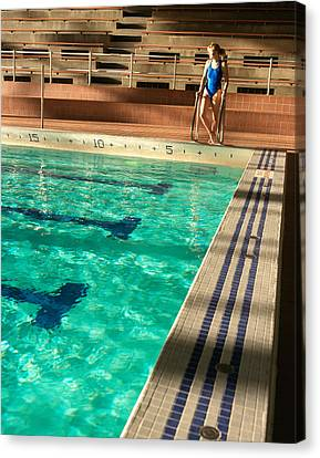 Female Swimmer At Poolside Canvas Print by Utah Images
