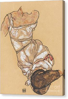 Female Torso In Lingerie And Black Stockings Canvas Print by Egon Schiele