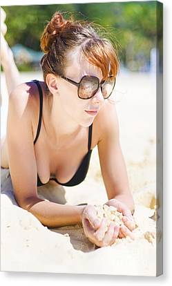 Female Tourist Resting In Tropical Island Paradise Canvas Print