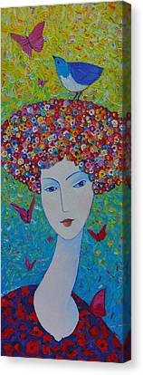 Designs On Face Canvas Print - Femininity Spring Portrait Contemporary Abstract Impressionism Knife Oil Painting Ana Maria Edulescu by Ana Maria Edulescu